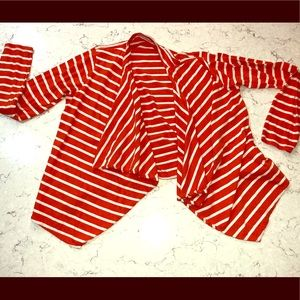 GUC J.CREW open cardigan orange and white stripes